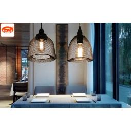 北欧复古简约创意吊灯艺术餐厅工业风铁丝网吊灯