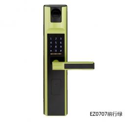 琪达五金名门静音门锁指纹锁EZ0707前行绿