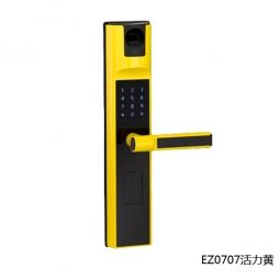 琪达五金名门静音门锁指纹锁EZ0707活力黄