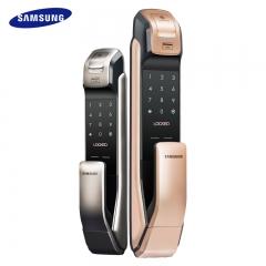 三星指纹锁电子锁密码锁家用智能锁防盗门锁刷卡感应锁P718 香槟金