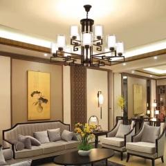 大发灯饰  中式别墅餐厅红木铜吊灯 复古纯铜祥云客厅灯 12头(其他头数咨询商家|)