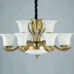 大发灯饰 美式吊灯美式铜灯客厅灯简约餐厅灯卧室灯 8+4头 8+4头(其他头数咨询商家)