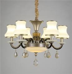 大发灯饰  中式仿古铁艺玉石吊灯欧式客厅奢华别墅 6头
