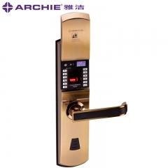 雅洁智能门锁指纹锁电子锁防盗大门密码锁户外门锁家用AJ1021-01A 青古铜