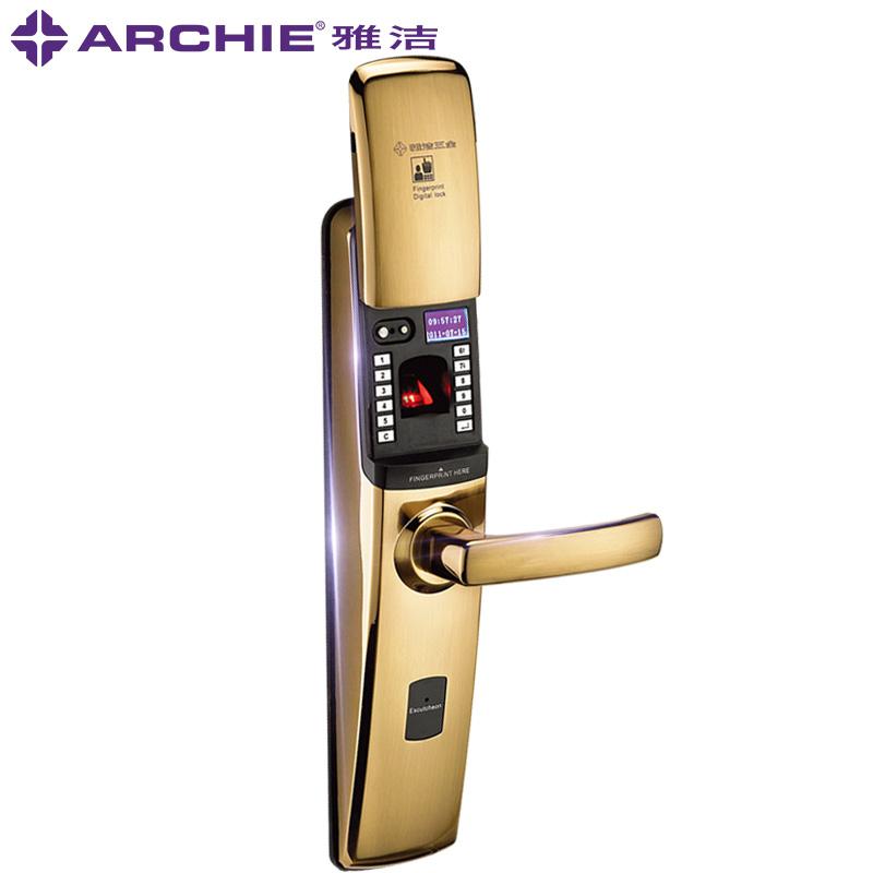 雅洁指纹锁家用防盗门智能门锁电子密码锁大门遥控开启AJ102