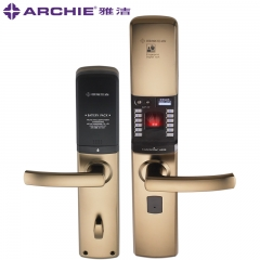 雅洁智能门锁指纹锁电子锁防盗大门密码锁户外门锁家用AJ1021B-03 皓月金