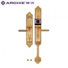 雅洁五金高端门锁 豪华仿古指纹锁智能电子锁大门门锁AJ1051-01A K金