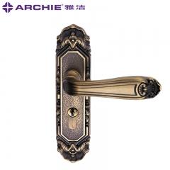 雅洁室内实木门锁欧式古典卧室房门锁 执手锁户内锁 AS2051-HB179 AK扫青古铜36(假锁)