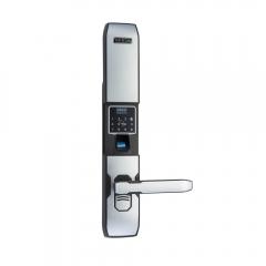 普鑫智能电子锁密码锁指纹锁 办公刷卡大门锁防盗锁 天城五金 棕间银