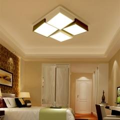 现代简约方格波浪形三色变光吸顶灯 温馨大气正方形卧室灯客厅灯 创格灯饰