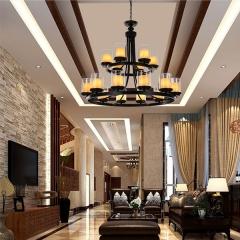 铁艺云石吊灯别墅酒店工程灯 大气双层客厅灯具 创格灯饰