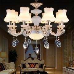 欧式水晶吊灯玉石客厅灯卧室奢华别墅复式楼简欧大气灯具 创格灯饰