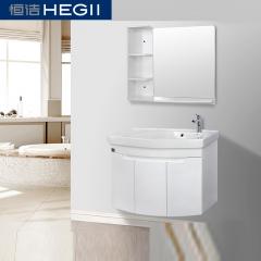 恒洁卫浴现代简约洗脸盆一体式吊柜实木浴室柜组合 品质保障 完美售后
