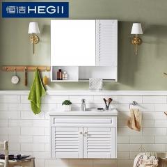 恒洁卫浴 浴室柜组合 美式简约橡胶实木洗漱台洗手盆柜吊柜 6014N整体式镜柜式(不含龙头0