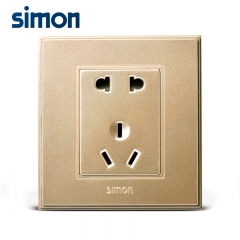 西蒙开关插座56C香槟色系列五孔插座面板5孔电源插座