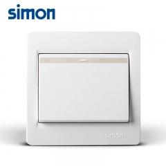 西蒙单控开关面板插座面板53系列一开单控开关插座86型雅白插座