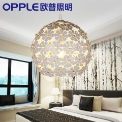 欧普照明 led餐厅灯浪漫 现代简约时尚单头餐吊灯创意个性吧台兴发灯饰 精美花朵设计 直径30cm