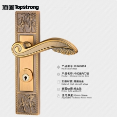 顶固正品 中式门锁 仿古执手锁 房门锁梅兰竹菊系列竹 五星五金 左内青古铜
