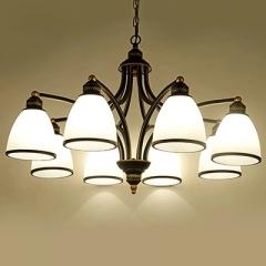 美式吊灯客厅灯现代简欧卧室餐厅美式灯北欧复古铁艺欧式灯饰灯具 6头朝下