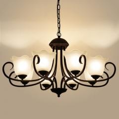现代简欧美式吊灯田园乡村客厅灯温馨浪漫主卧室吊灯书房餐厅灯具 3头【含LED正白光】