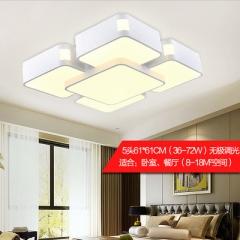 LED客厅灯吸顶灯长方形天空之城简约现代卧室大气大厅灯创意灯具 61*61 白框5头 白光
