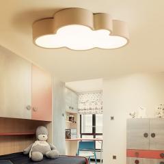 雷士照明儿童房灯简约现代创意卧室led吸顶灯男孩女孩卡通灯具 云朵白15W 三色分控
