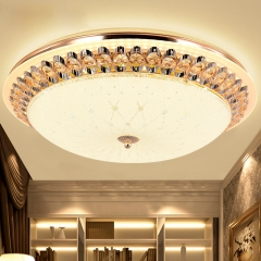 欧式温馨卧室水晶吸顶灯创意客厅圆形房间灯简欧过道阳台灯饰灯具 207小号直径40CM暖光白光三色调光