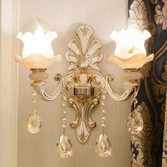 欧式水晶壁灯玉石壁灯锌合金壁灯温馨卧室床头灯过道走廊灯饰灯具 5002-1