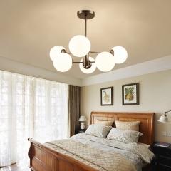北欧简约吊灯创意魔豆个性后现代风格客厅灯具餐厅卧室房间玻璃球 6头小号三色LED光源