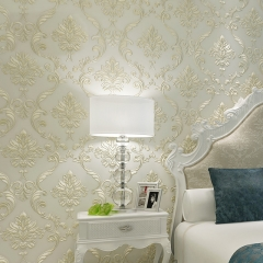 奢华欧式大马士革3D立体精压无纺布墙纸壁纸客厅卧室电视背景墙纸 米白色100705
