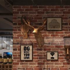 复古怀旧3D立体仿砖纹砖块砖头墙纸咖啡馆酒吧餐厅文化石红砖壁纸 复古砖红色