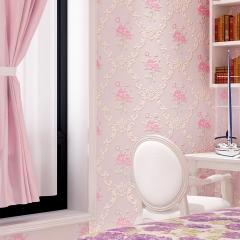 欧式无纺布壁纸田园3d立体浮雕精压大马士革卧室客厅背景墙纸环保 JA605-1 米白色