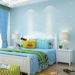 公主房儿童房墙纸 女孩环保无纺布壁纸粉色卧室壁纸卡通城堡环保 米黄色