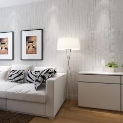 现代简约素色墙纸 无纺布条纹壁纸纯色 卧室客厅电视背景墙壁纸 加厚浅米黄色