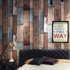 复古怀旧仿木板木纹壁纸卧室酒吧咖啡厅餐厅个性工业风服装店墙纸 树木色