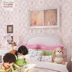儿童房墙纸可爱卡通小熊男孩女孩卧室壁纸蓝色粉色温馨无纺 粉色91002