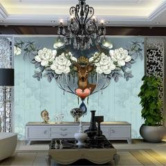 定制北欧3d电视背景墙客厅美式壁纸现代欧式卧室墙纸壁画麋鹿墙布 进口油画布整幅(具体咨询客服)