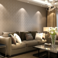 现代简约新中式壁纸格子回纹素色客厅3D立体电视背景墙无纺布墙纸 米白色