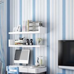 地中海风情壁纸蓝色粉竖条纹无纺布儿童房墙纸背景墙客厅卧室简约 时尚浅粉