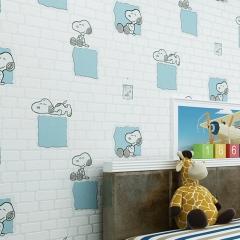 墙纸男女孩儿童房间可爱史努比砖头发泡无纺壁纸客厅卧室背景墙纸 米黄色/360901
