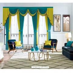 英阁来窗帘 现代撞色绿黄窗帘 成品定制均可 定金