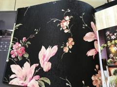 高档棉麻印花无缝墙布 B02A-1 黑色