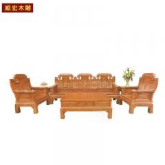 顺宏木雕仿古实木家具沙发座椅 图片色 实木 实木 订金
