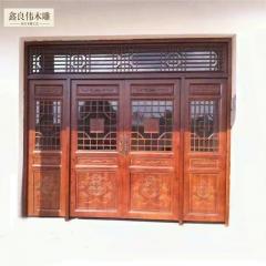 良伟仿古木雕木雕仿古门窗 装饰雕刻仿古门窗 棕色