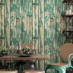 复古怀旧仿真木纹壁纸 个性酒店餐厅酒吧饭店服装店绿色木板墙纸 深棕色