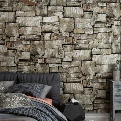 雅蒂墙纸复古怀旧3D仿真石材石砖纹墙砖块 酒吧咖啡馆工业风 背景墙纸壁纸 棕色砖