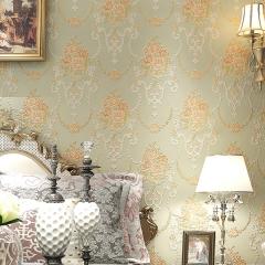 雅蒂墙纸美式田园大花精压浮雕3D无纺布壁纸 卧室客厅电视背景墙墙纸 米黄色