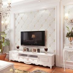 雅蒂墙纸高档欧式壁纸客厅卧室现代简约电视背景墙植绒墙纸 米黄色