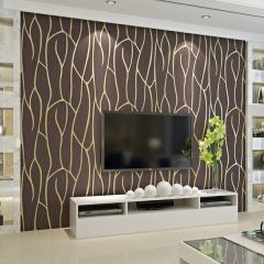 雅蒂墙纸简约现代电视背景墙壁纸卧室客厅植绒墙纸 米白色