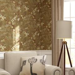 雅蒂墙纸美式乡村田园梅花无纺纯壁纸复古小花墙纸卧室客厅背景墙墙纸 黄色底